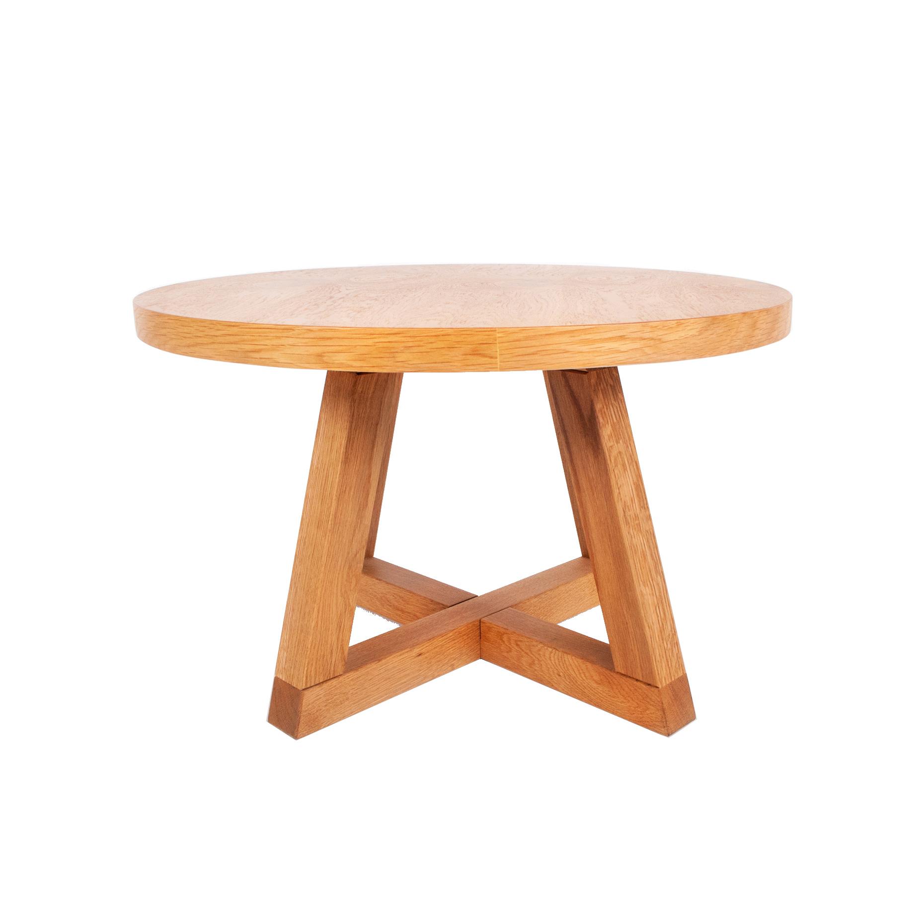 שולחן עגול מעץ אלון