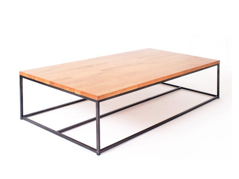 שולחן קלאסי משלב בוצ'ר אלון מלא ומסגרת ברזל