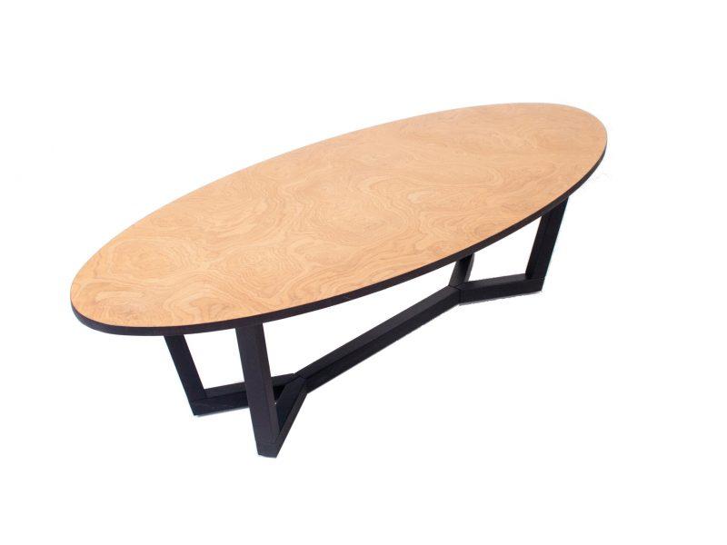 שולחן אליפסה שורש אלון משולב ברגלי אלון מלא